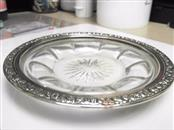 "6"" Sterling Silver Crystal Dish Vintage 70's Circa"